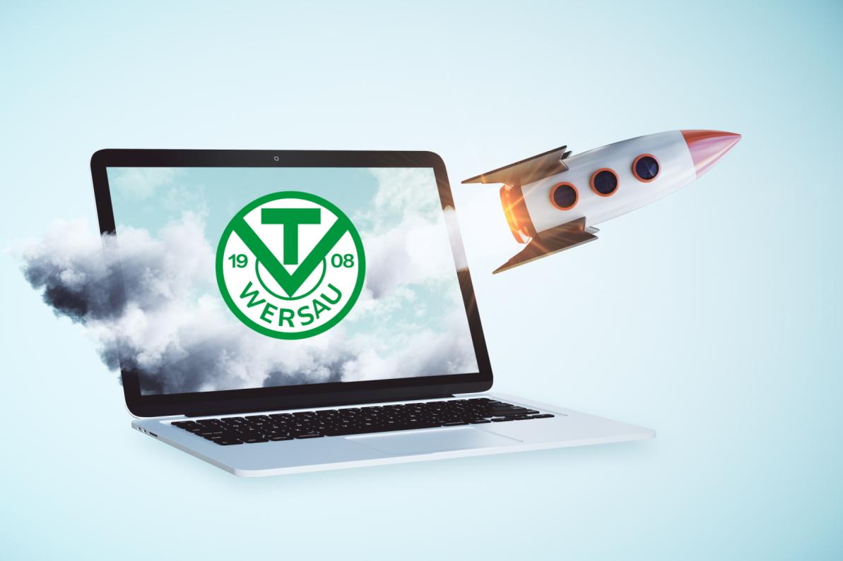 Launching rocker on laptop screen. Blue background. Online startup concept. 3D Rendering